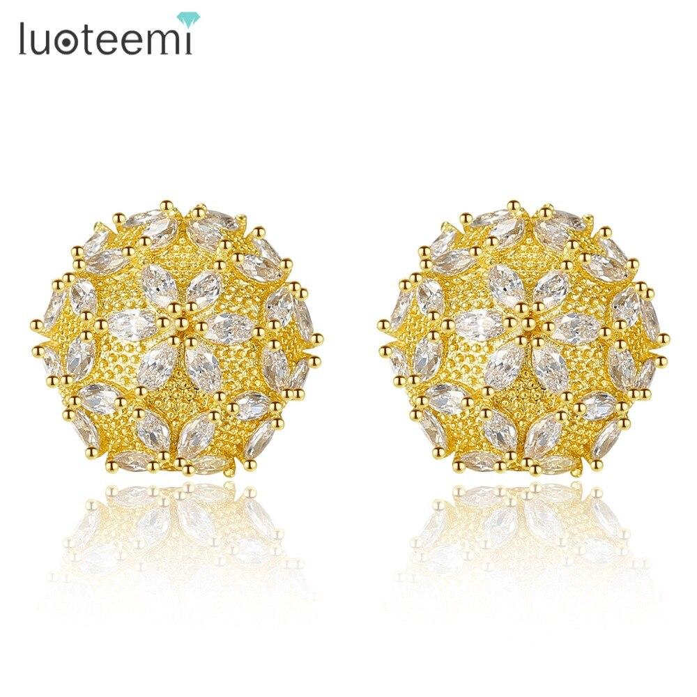 LUOTEEMI nouvelle marque Cluster boucles d'oreilles pour femmes fête de mariage brillant CZ deux couleurs Femme bijoux Boucle D'oreille Femme 2019