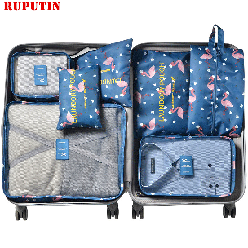RUPUTIN 7Pcs/set Travel Organizer Suitcase Clothes Finishing Kit Portable Partition Pouch Storage Bags Home Travel Accessories