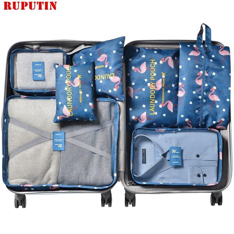 Ruputín 7 unids/set organizador de viaje maleta ropa Kit de acabado bolsa de partición portátil bolsas de almacenamiento accesorios de viaje para el hogar