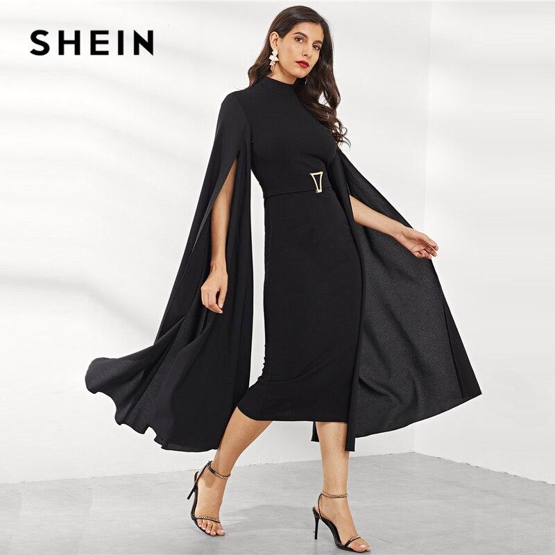SHEIN Black Exaggerate Split Sleeve Belted Dress Party Bodycon High Waist Plain Pencil Dresses Women Autumn Elegant Dresses