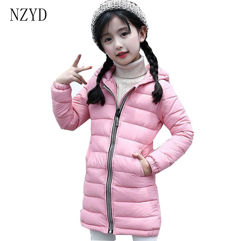 New Fashion Autumn Winter Cotton-Padded Clothes Girl Coat 2017 Han edition Hooded Jacket Down Casual Slim Kids Clothes DC600 цена 2016