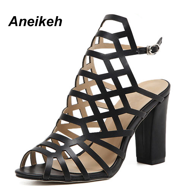 Aneikeh Women Sandals Summer Roman Shoes Hollow Gladiator Sandal Peep Toe OL High Heeled Sexy Slingback Sandals Size 35-40 high quality all transparent peep toe sandals women shoes 2018 new high heeled comfortable crystal lady shoes size 34 40
