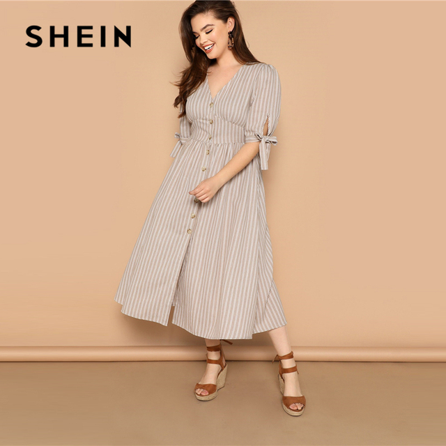 SHEIN Plus Size Multicolor Knot Cuff Button Up Striped Dress 2019 Women Summer Boho V Neck Half Sleeve Cotton Shift Long Dresses 1