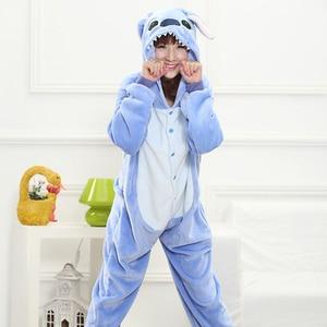 Image 2 - Adult Blue Stitch Kigurumi Onesie Women Girl Fancy Ainme Cosplay Costume Party Cartoon Pig Animal Jumpsuit Home Suit Pajamas