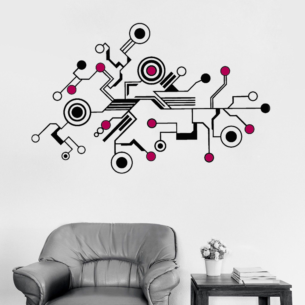 174x110CM Large Tech Abstract Circuit Wall Sticker Decals Unique Pattern Vinyl Mural Office Livingroom Wall Interior Decor LC386