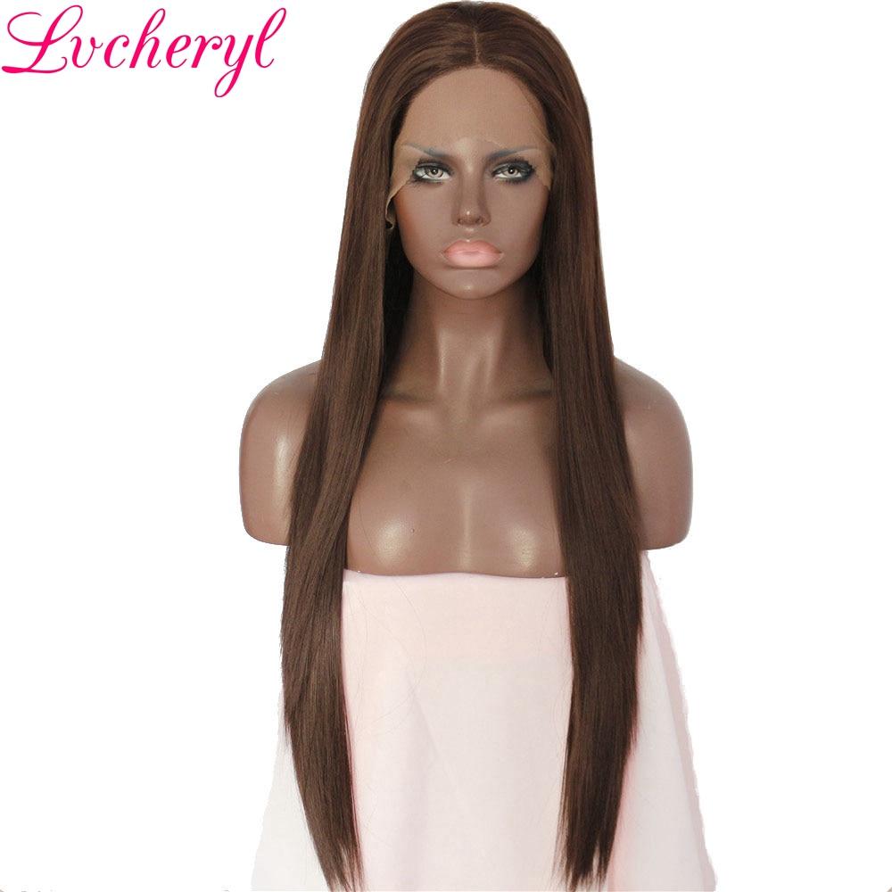 Lvcheryl темно-коричневый Цвет 6 # природные длинные прямые волосы жаропрочных Волокно руки связали синтетические Синтетические волосы на круж...