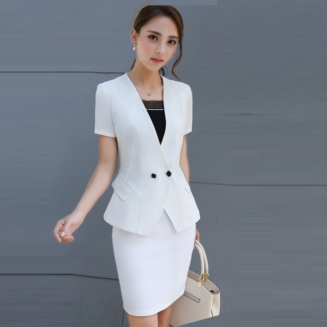 Women Business Suits Formal Office Suits Work 2018 Summer Elegant White  Skirt Suits 2 Piece Set Women Career Blazer Suit S-4XL 2a473bd61