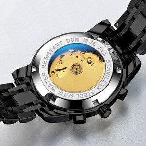 Image 5 - DOM ساعة ميكانيكية الرجال المعصم التلقائي ريترو ساعات الرجال مقاوم للماء الأسود كامل الصلب ساعة ساعة Montre أوم M 75BK 1MW