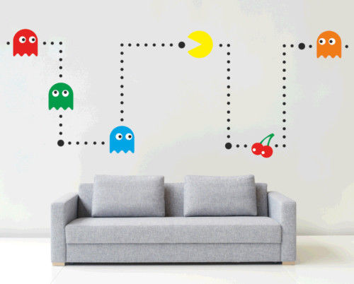 HWHD PACMAN Wall mural STICKER kit RETRO vinyl kids games DECAL stencil BEDROOM free shipping