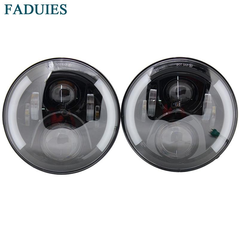 FADUIES 7 60W LED Headlight With Halo Angel Eye Turn Signal Light Driving Headlight for Jeep
