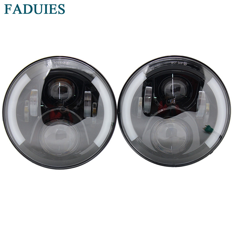 FADUIES 7 60W LED Headlight With Halo Angel Eye Turn Signal Light Driving Headlight for Jeep Wrangler JK 05-16 Hummer H1 & H2 7 60w round car led headlight with halo angel eye