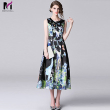 Merchall 2019 Runway Summer Black Pleated Party Dress Womens luxury Appliques Floral Print Sleeveless Vintage Dresses Vestdios