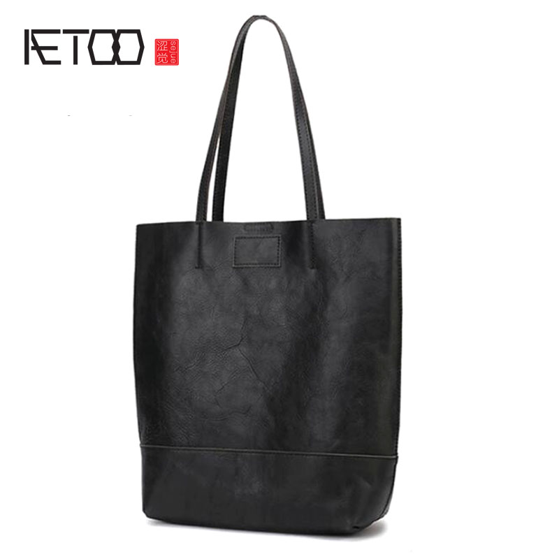 AETOO Leather handmade big bag female vertical version of the child tote bag simple one shoulder commuter leather casual female AETOO Leather handmade big bag female vertical version of the child tote bag simple one shoulder commuter leather casual female