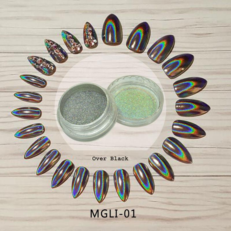 Ausdrucksvoll Top Verkauf 2017 Holographische Pulver 0,5 Gramm/topf Regenbogen Einhorn Wirkung Spiegel Chrom NÄgel Pigment-mgli-01 Nagelglitzer