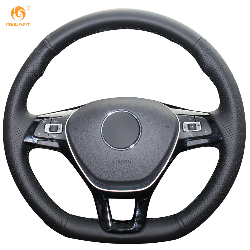 mewant black artificial leather steering wheel cover for volkswagen vw golf 7 mk7 new polo jetta. Black Bedroom Furniture Sets. Home Design Ideas