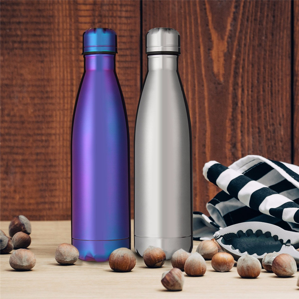 BPA Free Water Bottle 500ml Rose Gold Thermos Sport Vacuum Flask Stainless Steel Bright Insulated Fruit Milk Drink Bottle in Water Bottles from Home Garden