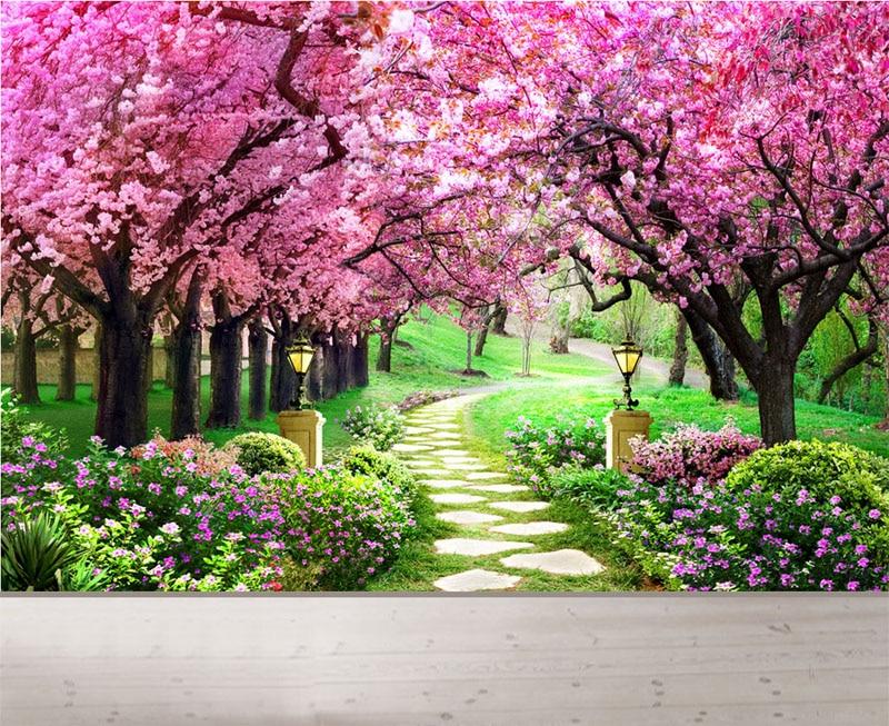 Ungu Bunga Sakura Jalan Hutan Taman 3d Mural Wallpaper untuk Ruang