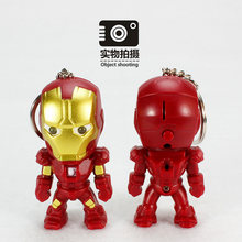 Vingadores Super Hero Spiderman LED Keychain Mulheres Luz PVC Pingentes Anel Chave Chaveiro Presente Crianças Brinquedos Cosplay Keychain(China)