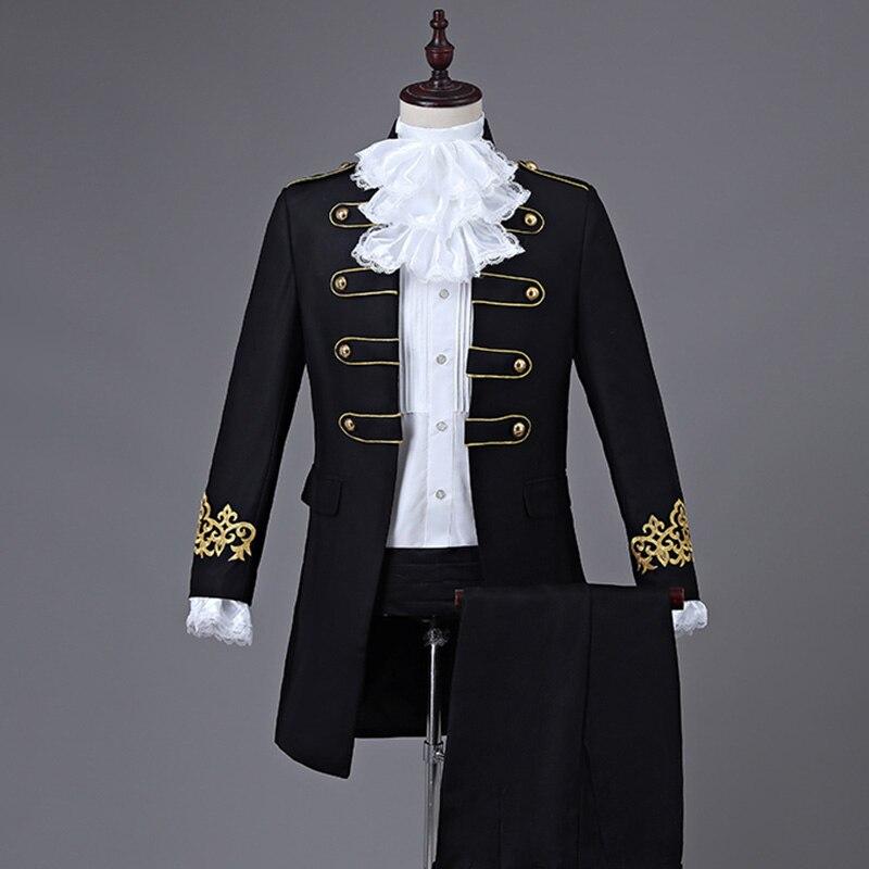 Flight Tracker Mens Century Suit Jacket Patriot Historical Gentlemans Suit Gothic Theater Outfit Mens Prince Royal Show Host Men Dress Tuxed Latest Technology Men's Clothing