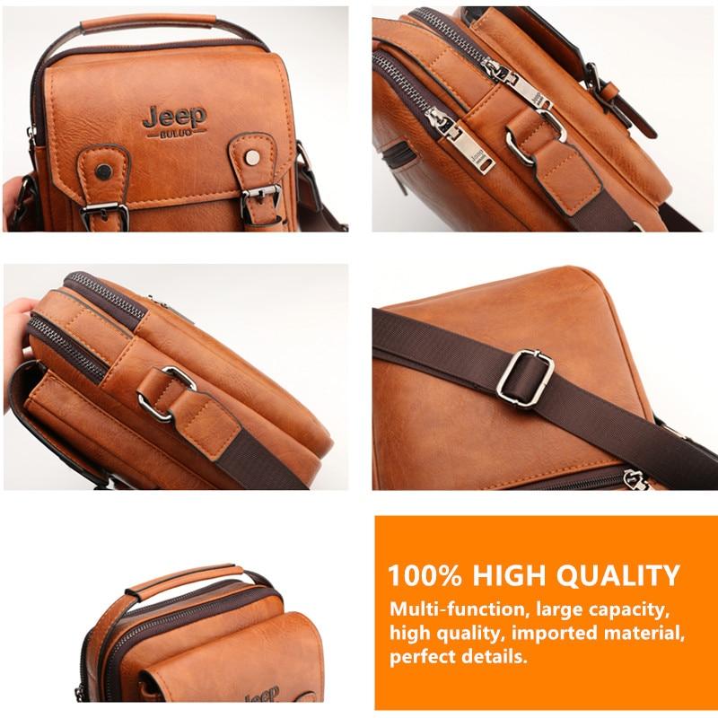JEEP BULUO  Brand New Man's Crossbody Shoulder Bag Multi-function Men Handbags Large Capacity Split Leather Bag For Man Travel