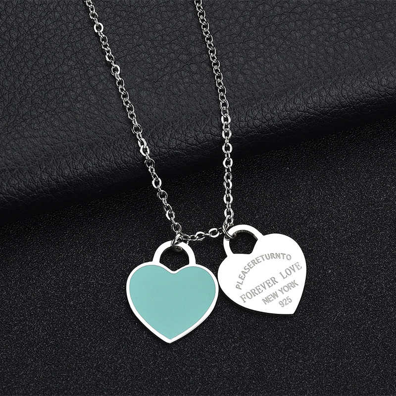 Big Double Heart Necklace Women Long Chain Classic Tiff Design GreenΠnk&Red Heart Pendant High Quality Necklace Gift Jewelry
