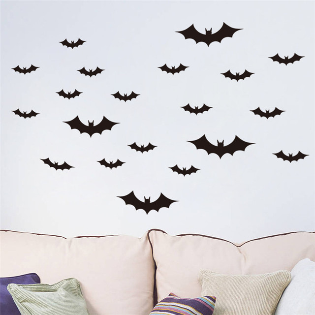 12pcs Black Bat Sticker Waterproof Removable Wall Festival Decor Bats Diy Home Decoration 5zsh024