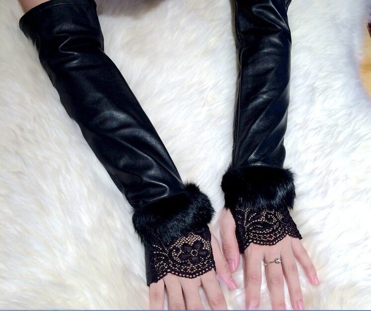 Autumn winter fashion women leather gloves rabbit fur lace arm warmer long paragraph sheep leather gloves black riding gloves