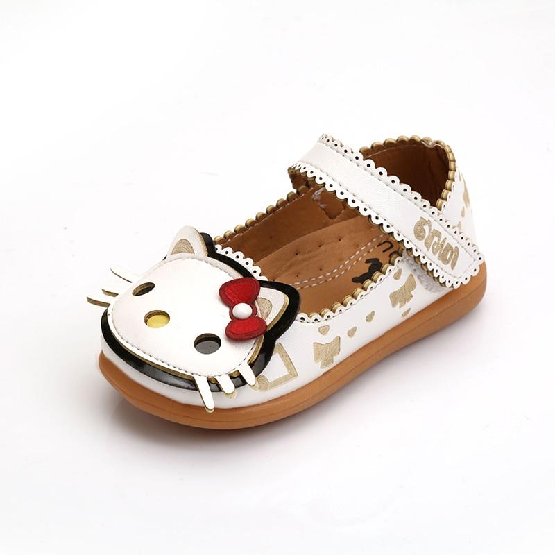 KINE PANDA Children Dress Shoes Girls Little Kids Shoes for Girl Cute HELLO  KITTY Princess Shoes Wedding Dance PU Leather 21-30 56090f23e918