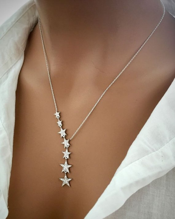 Micro Pave Cz Fashion Jewelry European Starbust Design Clear Cz Paved Sparking Y Shape Classic Gorgeous Necklace