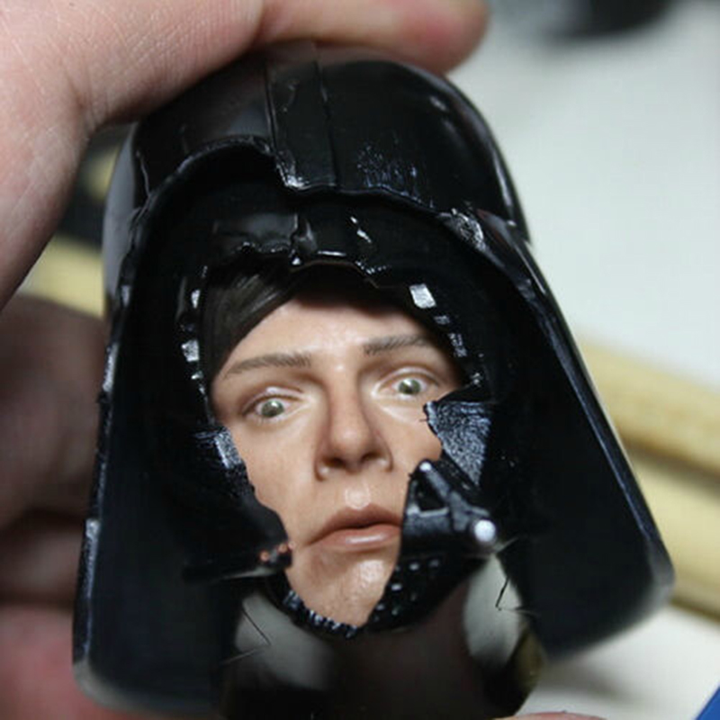 1/6 Scale HT DX07 VIP Star Wars Darth Vader Helmet with Luke Dark Face Fear Face Head Carving Model Fit 12 5