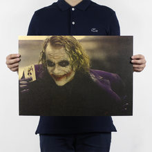 Vintage Classic Movie Batman The Dark Knight Joker Poster Bar Cafe Home Decor Painting Retro Kraft Paper Wall Sticker 51x35cm(China)
