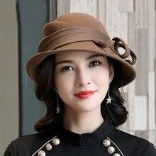 Bekyruiwu senhora banquete graça especial sombra de lã pura chapéus de feltro feminino festa formal chapéu fedora assimétrico