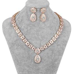 Image 2 - WEIMANJINGDIAN New Arrival luksusowy kwadratowe cyrkonie CZ kryształowy naszyjnik i kolczyki zestaw biżuterii ślubnej dla panny młodej lub druhny