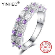 ФОТО yinhed 100% authentic 925 silver ring bling full purple cz zircon rings for woman wedding engagement fashion jewelry ra018503