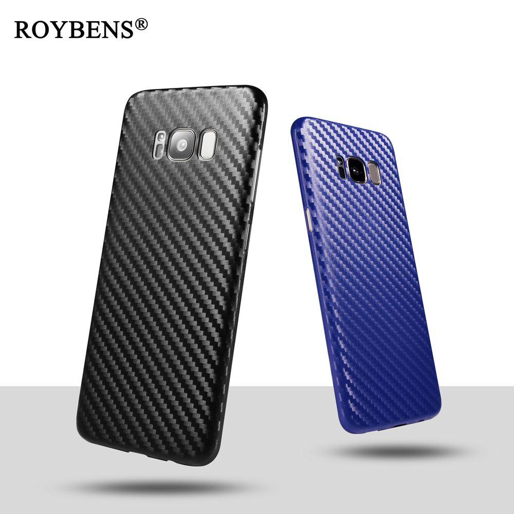 Roybens Роскошные 0,6 мм ультра тонкий мягкий чехол для samsung Galaxy S8 Встроенная кожа Тонкий матовый коврик углеродного волокна ПК пластик крышка S8 ...