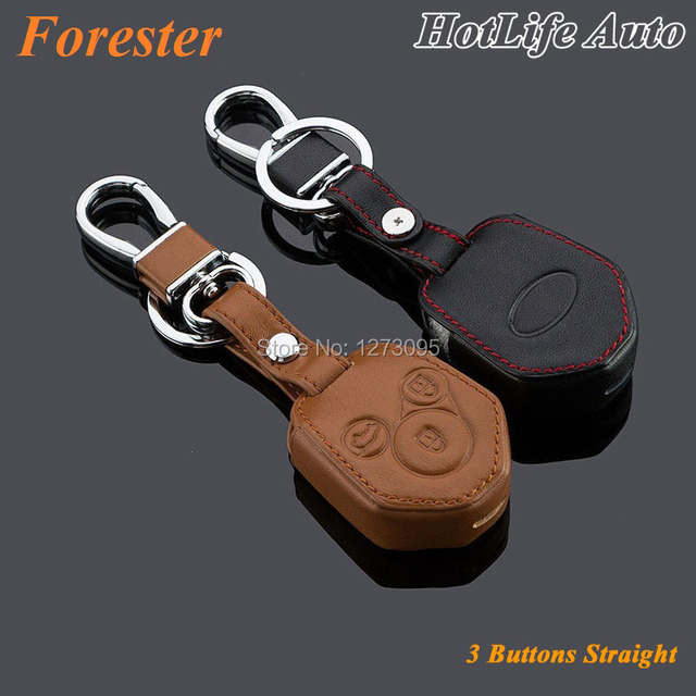 For 2008- 2013 2014 2015 Forester Car Keychain Genuine Leather Key Fob Case Cover Remote Smart Key Chain Holder Car Accessories