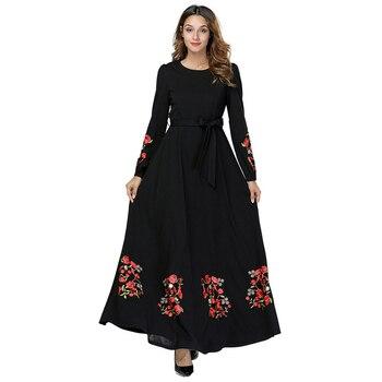 77a0a3e4d5 Negro Vestidos Kaftan Abaya Dubai árabe Hijab musulmán vestido de las  mujeres Elbise turco islámica ropa traje Musulmane Longue Vestidos
