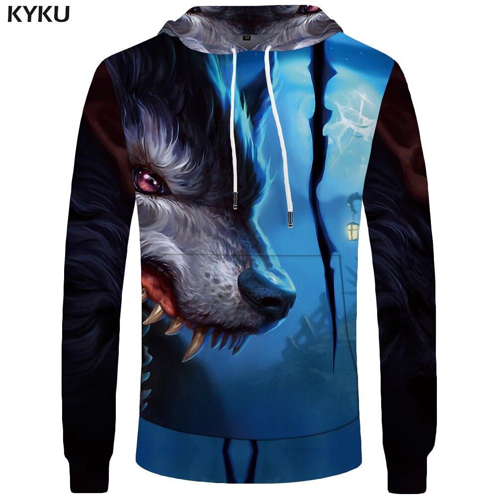 KYKU Wolf Hoodies Men Moon Sweatshirt Funny Mens Clothing Animal Hoddie Pocket Big Size 3d Hoodies Hoodie 2018 Casual