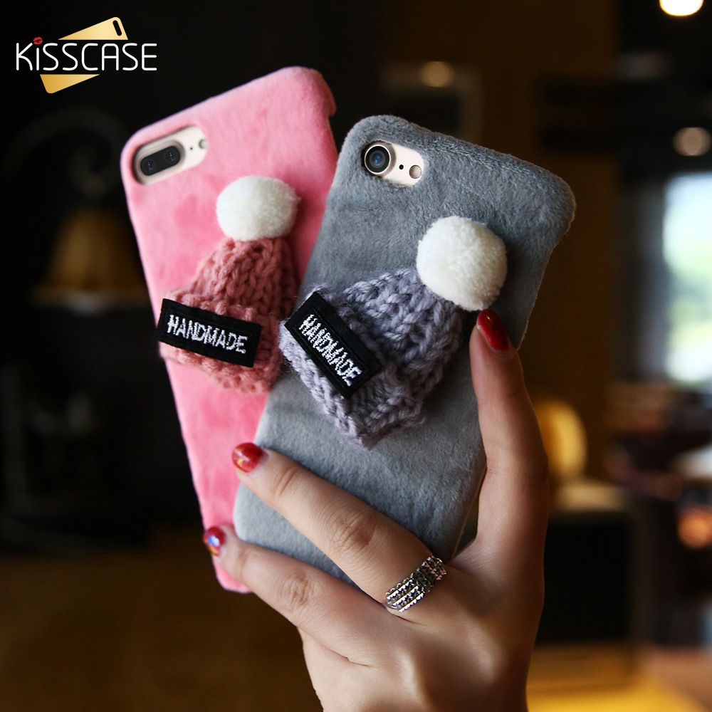 KISSCASE Christmas Hat Fluffy Case For Iphone 8 7 6S 6 Plus X XS Max XR Lovely Fur Phone Case For Iphone 6 6S 7 8 Plus X 5S SE