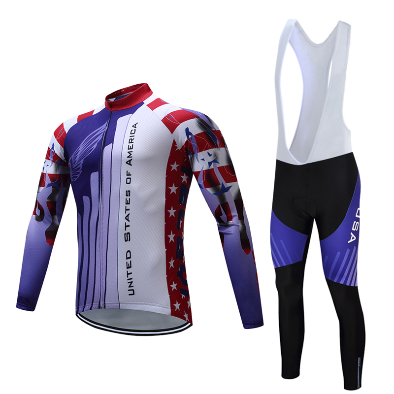 teleyi Cycling Jersey Sets Mens Bike Riding MTB Ropa Ciclismo Long Sleeve Cycling Suits 6D Pad Pants Breathable Cycling Clothing