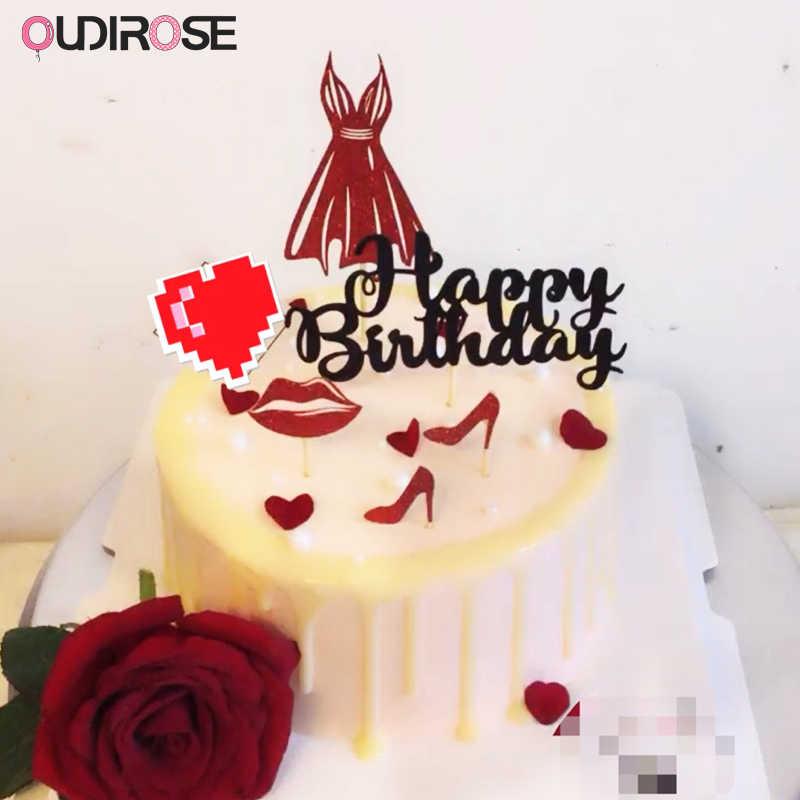 Pleasant Glitter Pink Single Girl Party Cake Topper Happy Birthday Boy Girl Birthday Cards Printable Benkemecafe Filternl