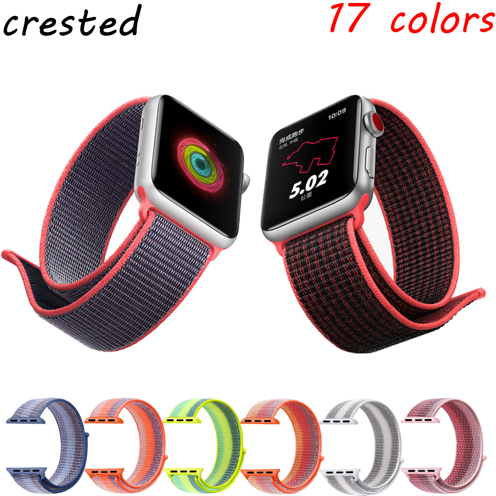 CRESTED sport nylon band For Apple Watch 3 42mm 38 mm Wove nylon watch strap for iwatch series 3/2/1 wrist bracelet watch band цена
