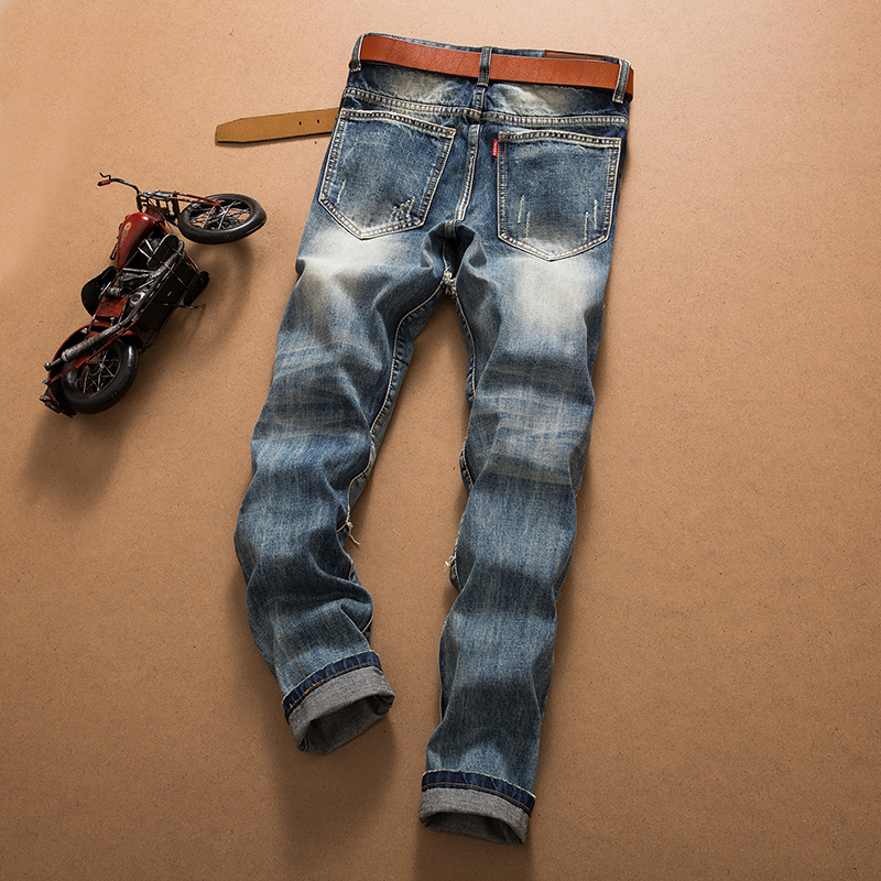 8df6bf0a6e83 NEW ARRIVAL Fashion Mens Holes Distressed Biker Jeans Seaming Vintage Wash  Brand Straight Cut Up Denim Pants for Men-in Jeans from Men s Clothing on  ...