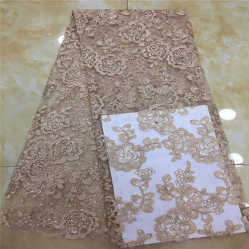 Tollola Gold Wedding High Quality African Lace Fabrics French Net Embroidery Sequins Tulle Lace Fabric French Lace Fabric