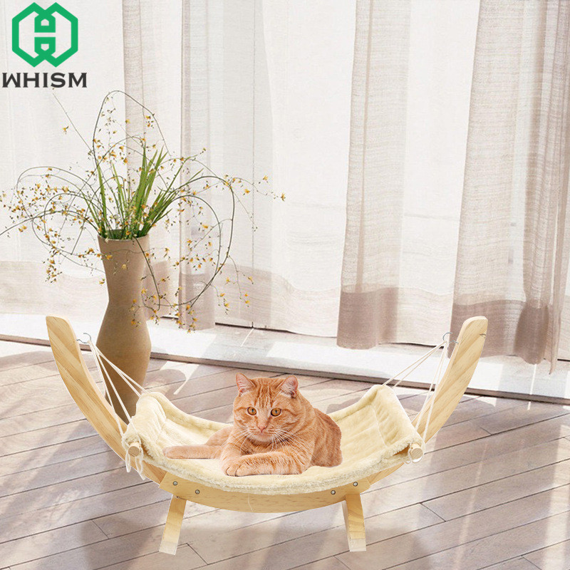 WHISM Pet Cats Hammock Warm Hamster Sleeping Bed Puppy Hanging Beds Fleece Perch with Wood Frame Soft Rest Cushion For Small Pet