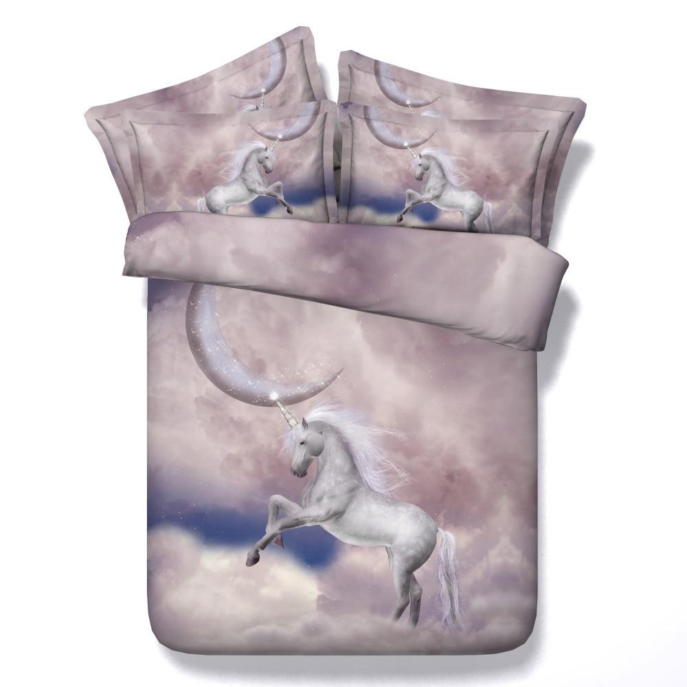 new arrival white horse on cloud print 4 pcs duvet cover sets bedding set bedsheet queen