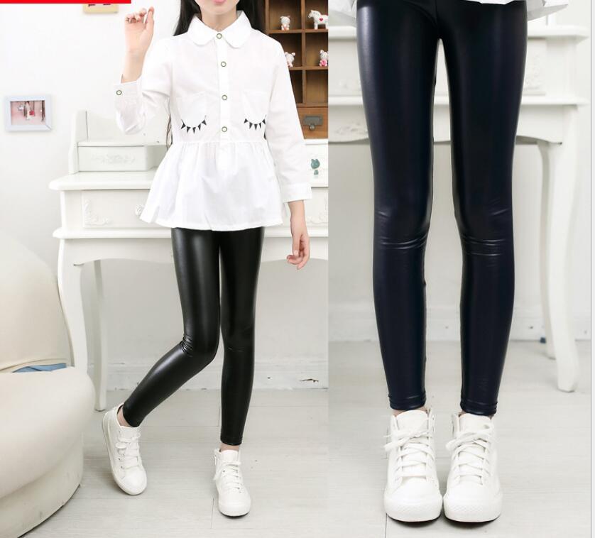 Fashion Girls Imitation Leather Pants Children s Spring Korean Style Leggings High Elastic Full Length Skinny