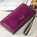 Brand Designer Women Wallet Soft Oil Wax Leather Zipper Ladies Clutch Wallet Big Bow Portable Long Purse Card Holder Phone Bag