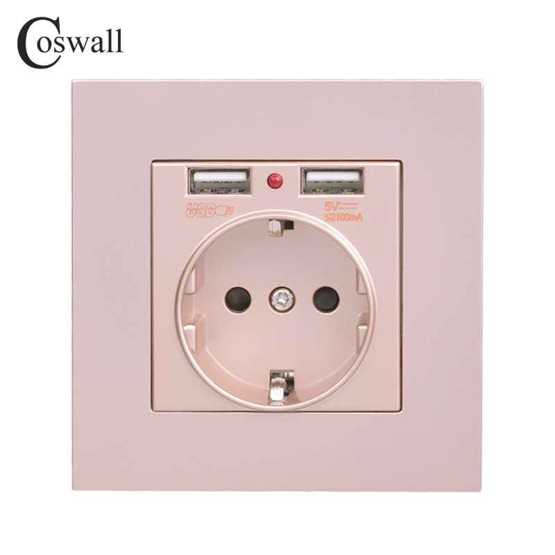 Coswall Dual USB Charging Port 5V 2.1A LED Indicator 16A Wall Russia Spain Power Socket EU Outlet PC Panel Gold Grey Black WhiteCoswall Dual USB Charging Port 5V 2.1A LED Indicator 16A Wall Russia Spain Power Socket EU Outlet PC Panel Gold Grey Black White