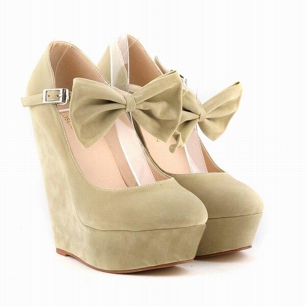 Mujeres Cuñas Sexy Suede Altos Arco Tacones Zapatos Plataforma DH9IYWE2
